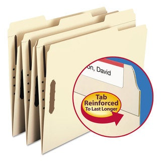 Smead Manila Two Fasteners 1/3 Cut Assorted Top Tabs Letter Folders (Box of 50)