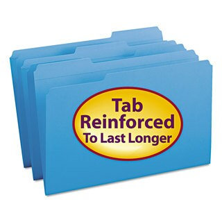 Smead Blue 1/3 Cut Reinforced Top Tab Legal File Folders (Box of 100)