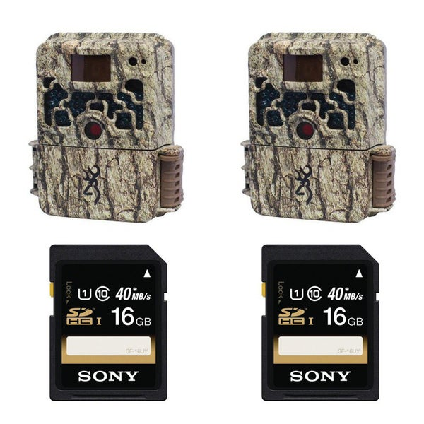 (2) Browning STRIKE FORCE BTC5HD Sub Micro Trail Camera + (2) Sony 16GB SDHC Class 10 Memory Cards