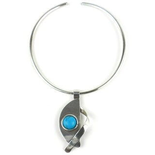 Handmade Turquoise Satellite Silverplated Necklace (South Africa)