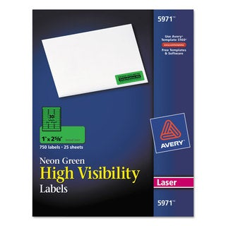 Avery Neon Green High Visibility Rectangle Laser Labels (Pack of 750)