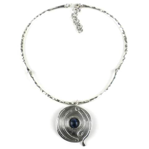 Handmade Blue Tiger Eye Wordly Silverplated Necklace (South Africa) - Dark Blue