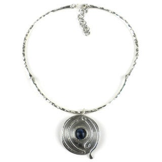 Blue Tiger Eye Wordly Silverplated Necklace (South Africa)