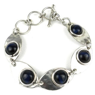 Blue Tiger Eye Link Silverplated Bracelet (South Africa)