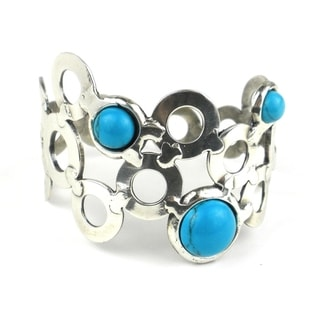 Turquoise Bubbles Silverplated Cuff (South Africa)