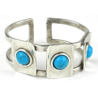 Turquoise Blocks Silverplated Cuff (South Africa)