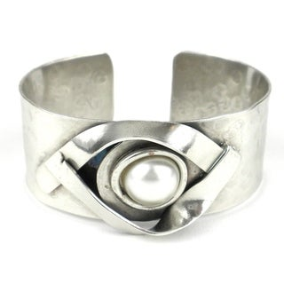 Handmade Wrapped Pearl Silverplated Cuff (South Africa)