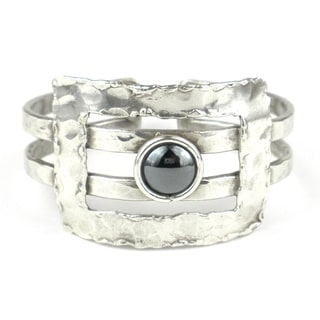 Hematite Grill Silverplated Cuff (South Africa)