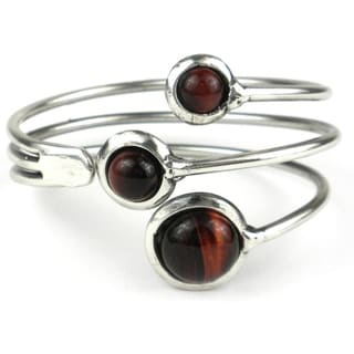 Red Tiger Eye Spray Silverplated Cuff (South Africa)