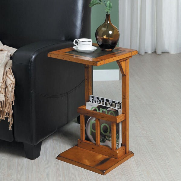 Aart Two Tone Slate Inset Accent Magazine Rack Chairside Table By Inspire Q Clic