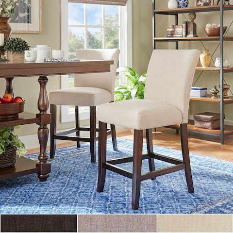 Parson Classic Linen Counter Height High Back Stools (Set of 2) by iNSPIRE Q Bold
