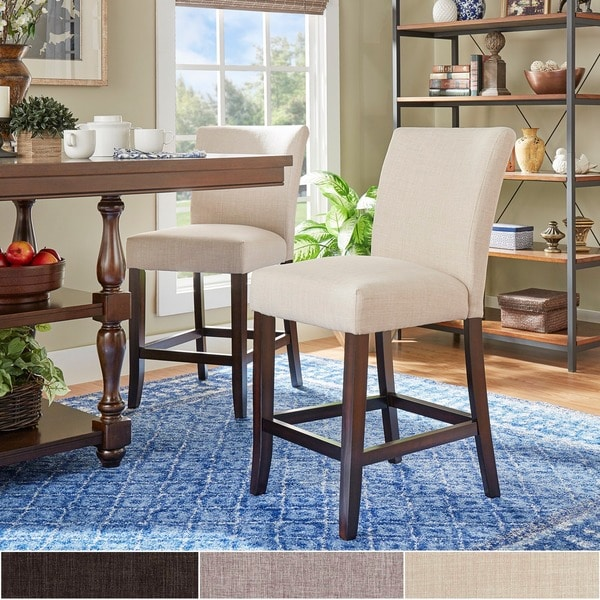 Counter Stools Overstock: Shop Parson Classic Linen Counter Height High Back Stools