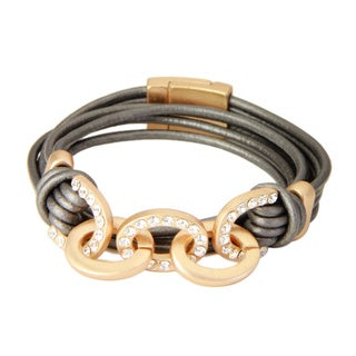 Saachi Multi-strand Leather Chain Wrap Bracelet (China)