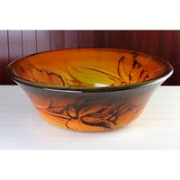 Floral Firelight Tempered Glass Vessel Sink