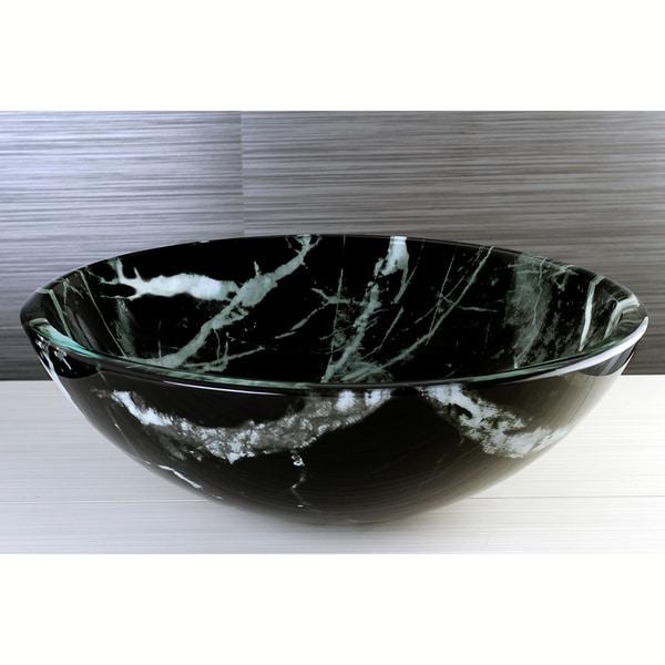 Black Marble Tempered Glass Vessel Sink