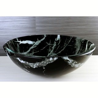 Black Marble  Tempered Glass Vessel Sink