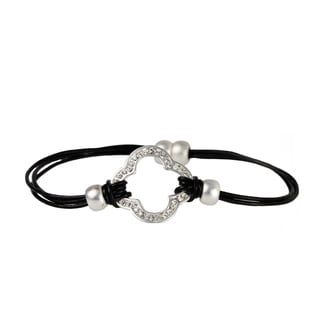 Saachi Multi Strand Leather Clover Charm Magnetic Bracelet (China)