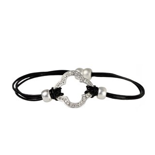 Handmade Saachi Multi Strand Leather Clover Charm Magnetic Bracelet (China)