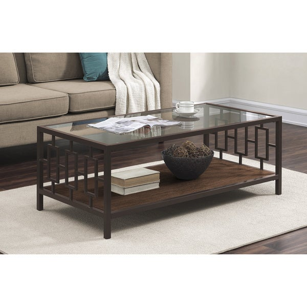 beautiful wood metal glass coffee table