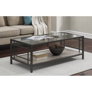 Alice Wood/ Glass/ Metal Coffee Table (Option: Glass)
