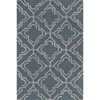 Hand-hooked Carolyn Slate/ Taupe Rug (9'3 x 13')