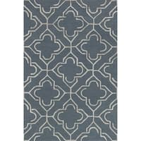 Hand-hooked Slate/ Taupe Contemporary Geometric Rug - 9'3 x 13'