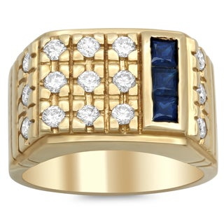 14k Yellow Gold 1 ct TDW Diamond and Sapphire Ring (F-G, VS1-VS2)