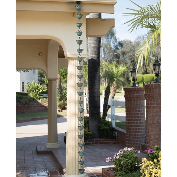 Monarch Pure Copper Lotus Rain Chain Green Patina 8 5 Foot Inclusive Of Installation Hanger