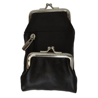 Genuine Leather Long Cigarette Case Pouch with Coin Kiss Lock Frame and Zippered Bill Compartment