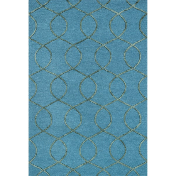 Hand-hooked Carolyn Ocean/ Green Rug (5'0 x 7'6) - 5' x 7'6