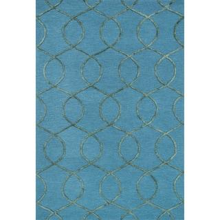 Hand-hooked Carolyn Ocean/ Green Rug (5'0 x 7'6)