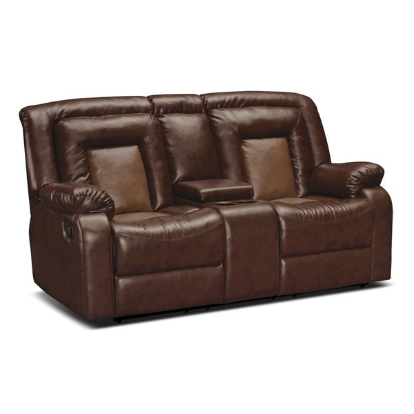 Kmax 2 toned pu dual reclining loveseat with storage for Home goods loveseat