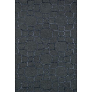 Hand-hooked Carolyn Charcoal/Black Rug (7'6 x 9'6)