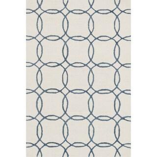 Hand-hooked Carolyn Ivory/ Blue Rug (3'6 x 5'6)