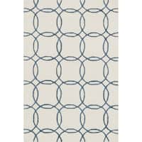 Hand-hooked Carolyn Ivory/ Blue Rug - 3'6 x 5'6'