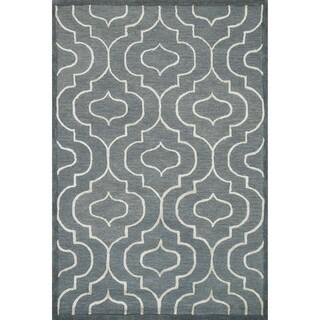 Hand-hooked Carolyn Moroccan Grey/ Ivory Rug (9'3 x 13')