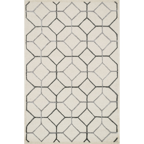 """Hand-hooked Ivory/ Grey Contemporary Geometric Rug - 9'3"""" x 13'"""