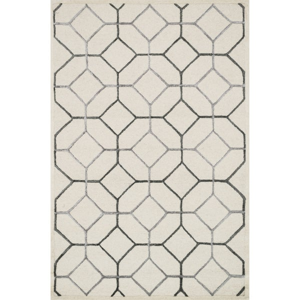Hand-hooked Ivory/ Grey Contemporary Geometric Rug - 9'3 x 13'