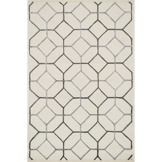 Hand-hooked Carolyn Ivory/ Grey Rug (9'3 x 13')