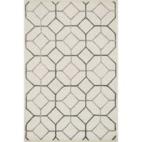 "Hand-hooked Ivory/ Grey Contemporary Geometric Rug - 9'3"" x 13'"