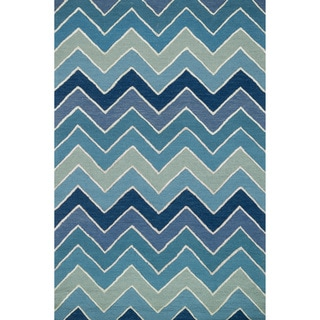Hand-hooked Carolyn Blue/ Multi Chevron Rug (2'3 x 3'9)