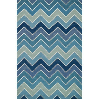 Hand-hooked Carolyn Blue/ Multi Chevron Rug (9'3 x 13')