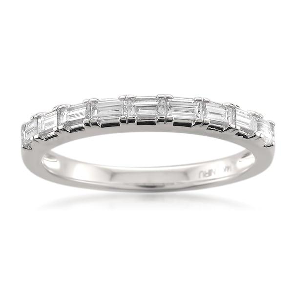 Montebello 14k Gold 1/2ct TDW Baguette Cut White Diamond Wedding Band