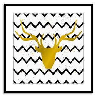 Gallery Direct FTOLIA 'Golden Deer Head on Chevron Background' Paper Framed