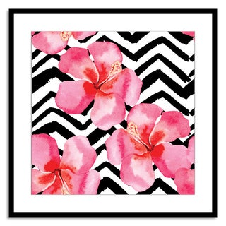 Gallery Direct FTOLIA 'tropical hibiscus watercolor pattern, black and white background' Paper Framed