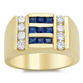 14k Yellow Gold 3/4ct TDW Diamond and Blue Sapphire Ring (F-G, VS1-VS2)