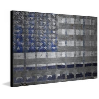 Handmade Parvez Taj - Blue America Print on Brushed Aluminum