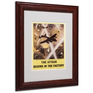 Attack Begins in Factory Propaganda' White Matte, Wood Framed Wall Art