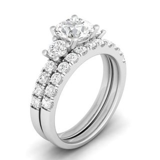 Sterling Silver Round Cubic Zirconia 3-stone Wedding Ring Set