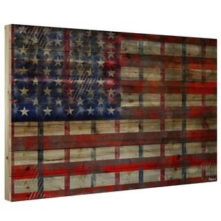 "Parvez Taj - ""Striped Flag"" Print on Natural Pine Wood"